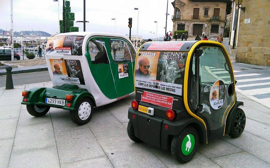 Road Show+publicidad en vehículos para concierto en Gijón de Elton John y Lenny Cravitz